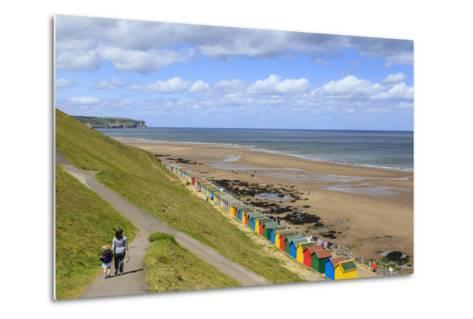 Elevated View of Colourful Beach Huts on West Cliff Beach-Eleanor Scriven-Metal Print