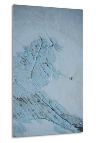 An Aerial View of Hikers in a Vast Patagonia Landscape of Snow and Ice--Metal Print