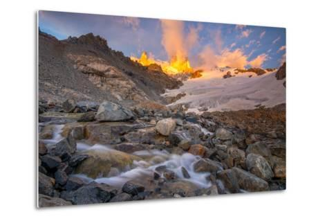 Alpenglow at Sunrise over a Patagonia Landscape with Snow and a Rushing, Cascading Stream--Metal Print
