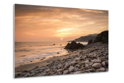 Sunset on Will Rogers Beach, Pacific Palisades, California, United States of America, North America-Mark Chivers-Metal Print