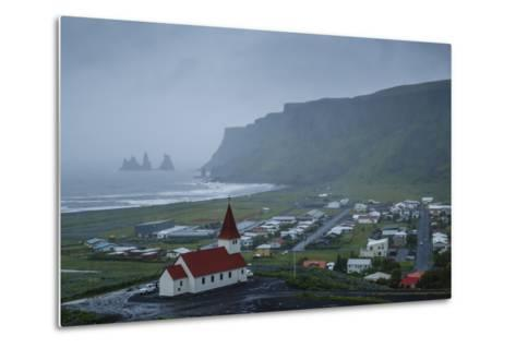 View over the Village of Vik on a Rainy Day, Iceland, Polar Regions-Yadid Levy-Metal Print