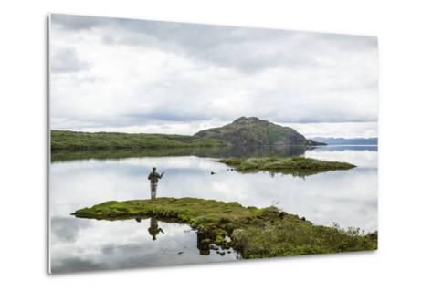 Man Fishing at Thingvallavatn Lake, Thingvellir (Pingvellir) National Park, Golden Circle, Iceland-Yadid Levy-Metal Print