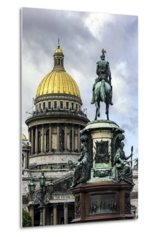 Golden Dome of St. Isaac's Cathedral Built in 1818 and the Equestrian Statue of Tsar Nicholas-Gavin Hellier-Metal Print