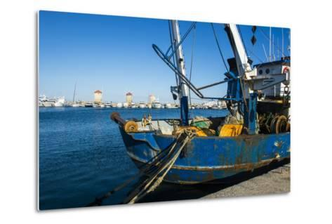 Fishing Boat in the Habour of the City of Rhodes, Rhodes, Dodecanese Islands, Greek Islands, Greece-Michael Runkel-Metal Print