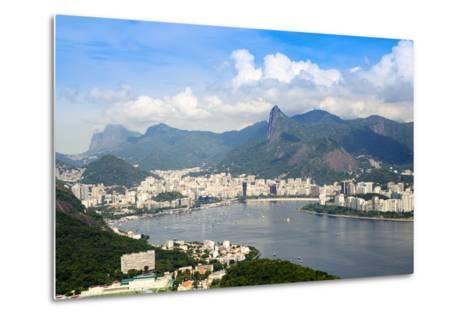 Aerial View of the City and Serra Da Carioca Mountains with Botafogo Bay-Alex Robinson-Metal Print