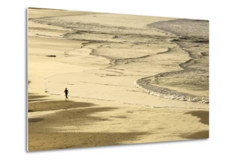 Woman Jogging at Sunrise on Gwithian Beach, Cornwall, England, United Kingdom-Mark Chivers-Metal Print