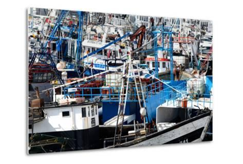 Densely Crowded Fishing Boats Moored in Tangier Fishing Harbour, Tangier, Morocco-Mick Baines & Maren Reichelt-Metal Print