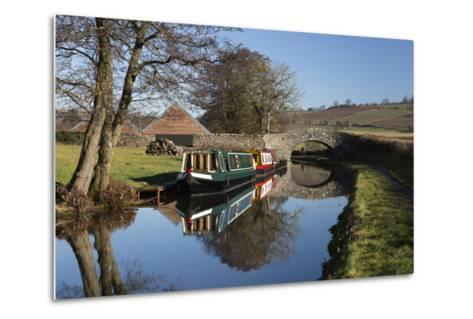 Barges on the Monmouthshire and Brecon Canal-Stuart Black-Metal Print