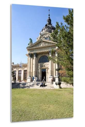 Exterior Facade with Columns and Sculptures of the Famed Szechenhu Thermal Bath House-Kimberly Walker-Metal Print