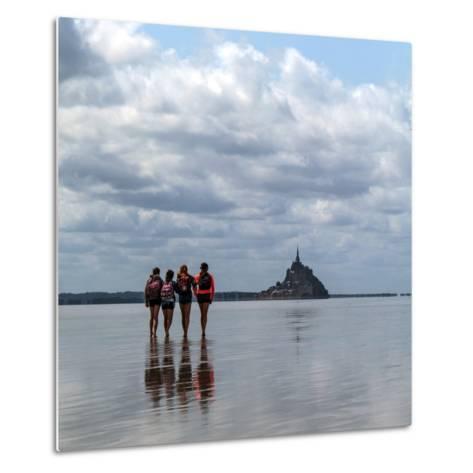 Tourists Walk the Sea Floor at Low Tide to the World Heritage Site Mont Saint Michel Monastery-Babak Tafreshi-Metal Print