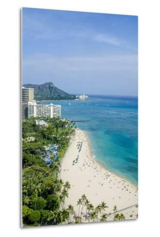 Waikiki Beach and Diamond Head, Waikiki, Honolulu, Oahu, Hawaii, United States of America, Pacific-Michael DeFreitas-Metal Print