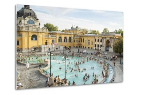 People Soaking and Swimming in the Famous Szechenhu Thermal Bath, Budapest, Hungary-Kimberly Walker-Metal Print