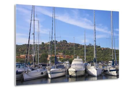 Marina and Perched Village, Ottiolu Harbour, Costa Degli Oleandri, Sardinia, Italy, Mediterranean-Guy Thouvenin-Metal Print