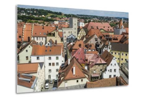 View over Regensburg from the Tower of the Church of the Holy Trinity, Regensburg, Bavaria, Germany-Michael Runkel-Metal Print