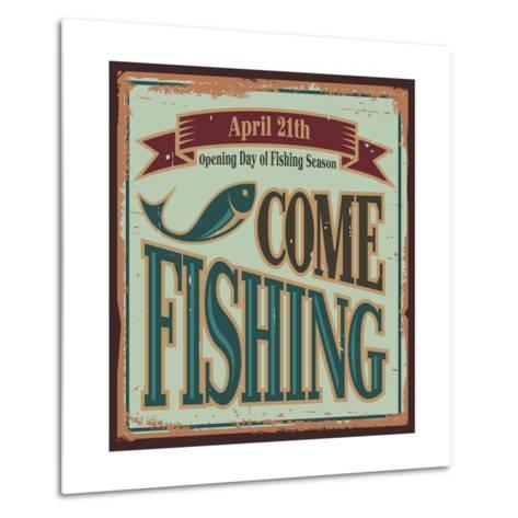 Vintage Fishing Metal Sign-Lukeruk-Metal Print