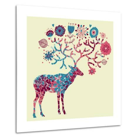Deer Made of Flowers-smilewithjul-Metal Print