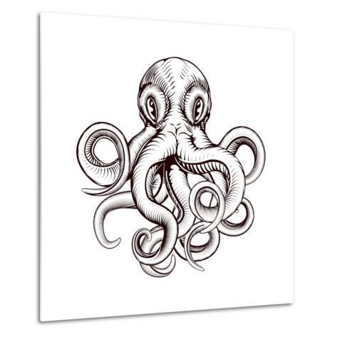 Octopus Illustration-Krisdog-Metal Print