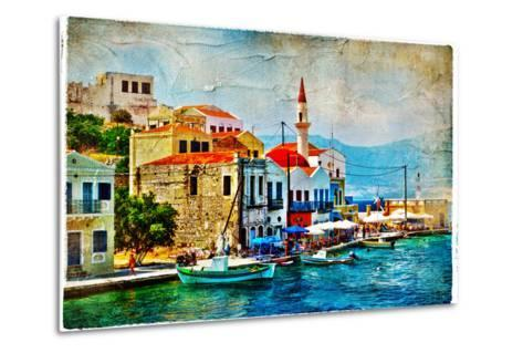 Beautiful Kastelorizo Bay (Greece, Dodecanes) - Artwork In Painting Style-Maugli-l-Metal Print