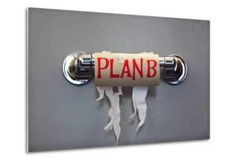 Empty Roll Of Toilet Paper With The Phrase Plan B, Concept For Alternative Planning-Flynt-Metal Print