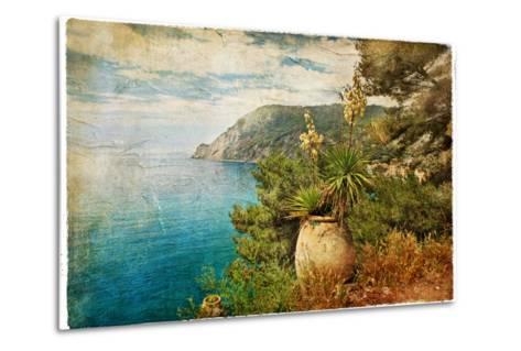 Picturesue Italian Coast - Artwork In Retro Painting Style-Maugli-l-Metal Print