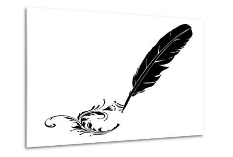 Black-And-White Feather And Flourish--Metal Print