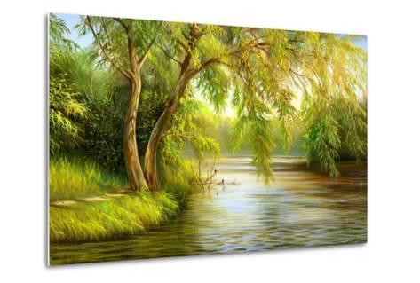 Summer Wood Lake With Trees And Bushes-balaikin2009-Metal Print