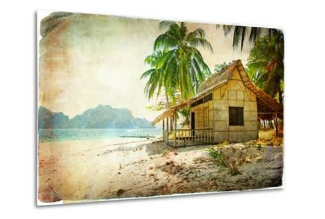 Tropical Bugalow -Retro Styled Picture-Maugli-l-Metal Print