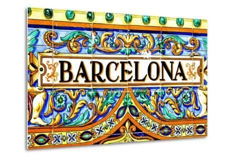A Barcelona Sign Over A Mosaic Wall-nito-Metal Print