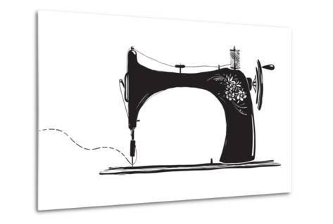 Vintage Sewing Machine Inky Illustration-Popmarleo-Metal Print