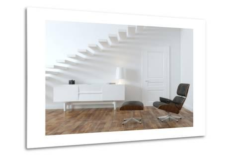 White Minimalistic Room With Black Lounge Chair- VizArch-Metal Print