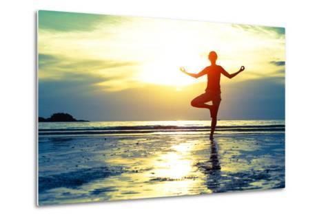 Woman Practicing Yoga On The Beach At Sunset-De Visu-Metal Print