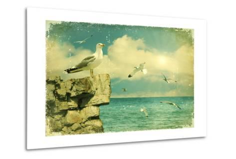 Seagulls In The Sky.Vintage Nature Seascape Background-GeraKTV-Metal Print