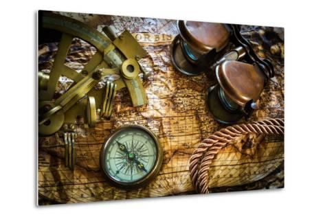 Vintage Still Life With Compass,Sextant And Old Map-scorpp-Metal Print