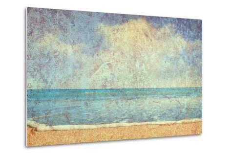 Beach And Sea On Paper Texture Background-Gladkov-Metal Print