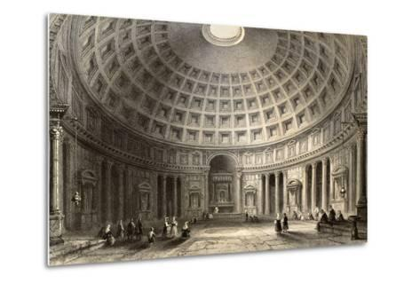 Antique Illustration Of Pantheon In Rome, Italy-marzolino-Metal Print