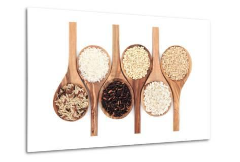 Rice Varieties In Olive Wood Spoons Over White Background-marilyna-Metal Print