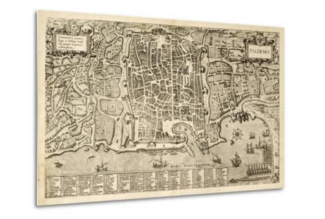 Antique Map Of Palermo, The Main Town In Sicily-marzolino-Metal Print