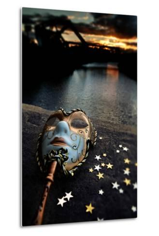 Venetian Mask By The River Bridge With Sunset-passigatti-Metal Print