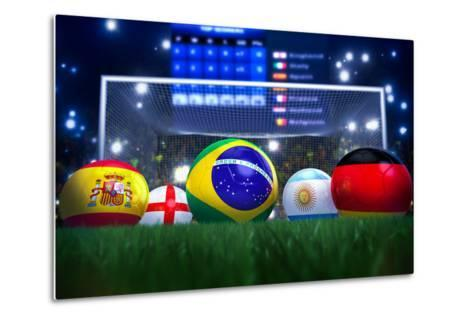 3D Rendering Of Footballs In The Year 2014 In A Football Stadium-coward_lion-Metal Print