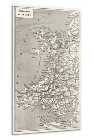 Wales Old Map. Created By Erhard And Duguay-Trouin, Published On Le Tour Du Monde, Paris, 1867-marzolino-Metal Print