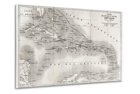 Antilles Old Map. Created By Vuillemin And Erhard, Published On Le Tour Du Monde, Paris, 1860-marzolino-Metal Print