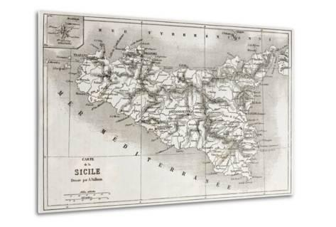 Sicily Old Map With Stromboli Isle Insert Map-marzolino-Metal Print