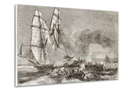 Slaver Vessel Escaping From Military Ship Getting Rid Of Slaves-marzolino-Metal Print