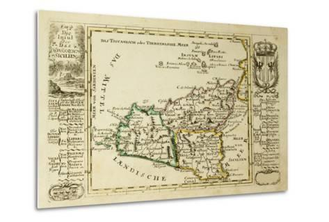 Sicily Old Map, May Be Dated To The Beginning Of The Xviii Sec-marzolino-Metal Print