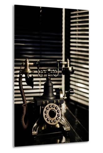 Vintage Telephone - Film Noir Scene With Retro Phone And Blinds-passigatti-Metal Print