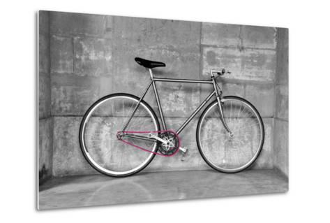 A Fixed-Gear Bicycle (Or Fixie) In Black And White With A Pink Chain-Dutourdumonde-Metal Print