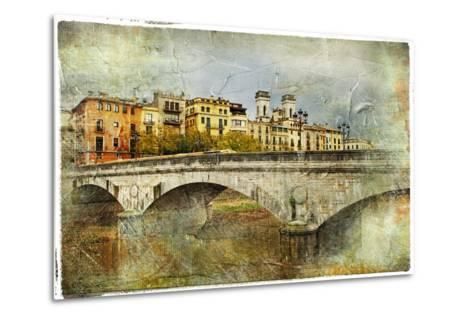 Girona, View With Bridge - Artistic Picture In Painting Style-Maugli-l-Metal Print