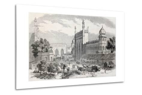 Old Illustration Of Main Street In Lucknow, India-marzolino-Metal Print