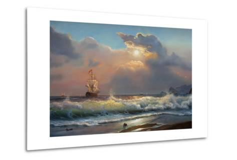 Oil Painting On Canvas , Sailboat Against A Background Of Sea-Lilun-Metal Print