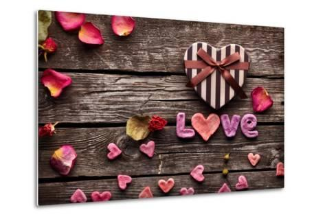 Word Love With Heart Shaped Valentines Day Gift Box On Old Vintage Wooden Plates-ouh_desire-Metal Print